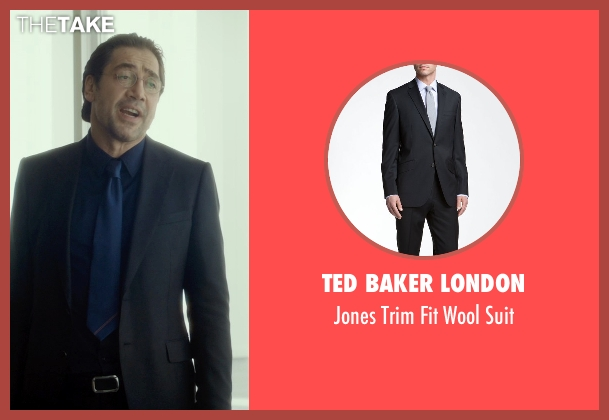 Ted Baker London black suit from The Gunman seen with Javier Bardem (Felix)