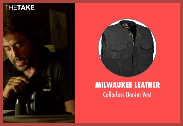 Milwaukee Leather black vest from The Gunman seen with Javier Bardem (Felix)