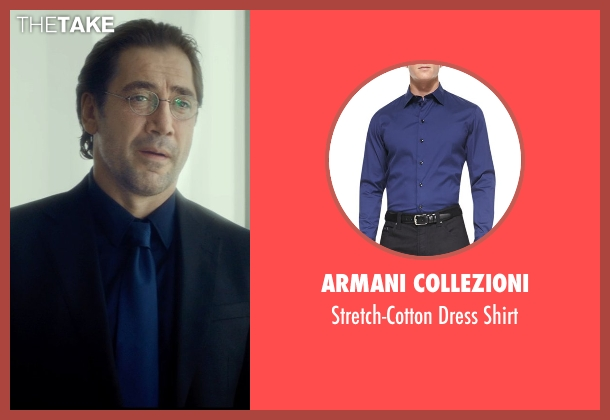 Armani Collezioni blue shirt from The Gunman seen with Javier Bardem (Felix)