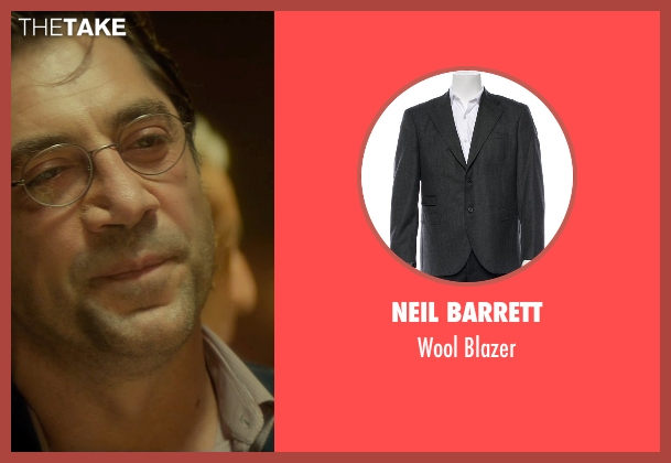 Neil Barrett gray blazer from The Gunman seen with Javier Bardem (Felix)