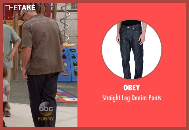 Obey blue pants from Modern Family seen with Jay Pritchett (Ed O'Neill)