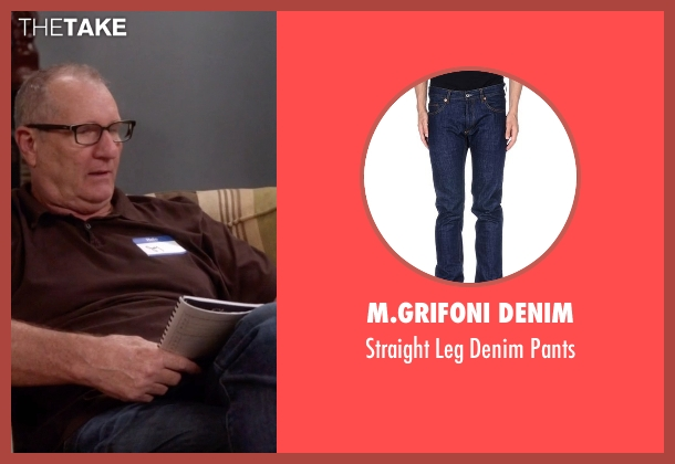 M.Grifoni Denim blue pants from Modern Family seen with Jay Pritchett (Ed O'Neill)