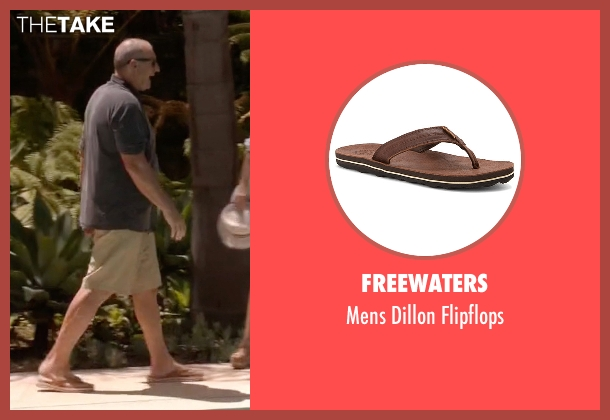 Freewaters brown flipflops from Modern Family seen with Jay Pritchett (Ed O'Neill)