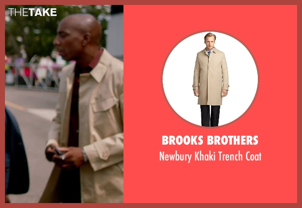 Brooks Brothers beige coat from Top Five seen with J.B. Smoove (Silk)