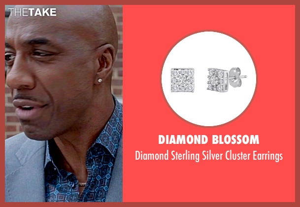 Diamond Blossom silver earrings from Top Five seen with J.B. Smoove (Silk)