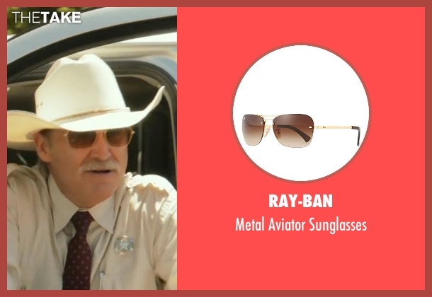 Ray-Ban gold sunglasses from Hell or High Water seen with Jeff Bridges (Marcus)