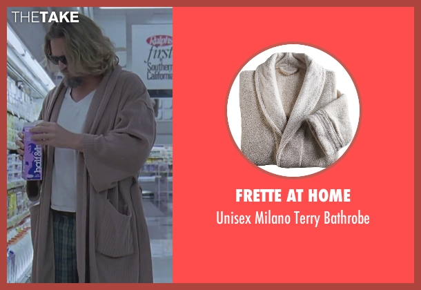 Frette at Home brown bathrobe from The Big Lebowski seen with Jeff Bridges (The Dude)