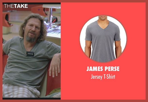James Perse gray t-shirt from The Big Lebowski seen with Jeff Bridges (The Dude)
