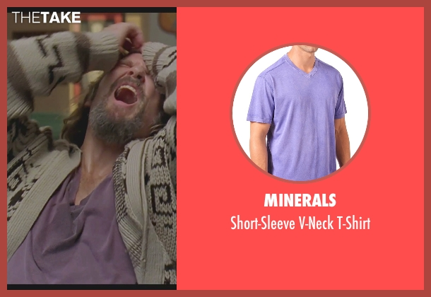Minerals purple t-shirt from The Big Lebowski seen with Jeff Bridges (The Dude)