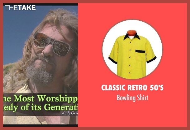 Classic Retro 50's yellow shirt from The Big Lebowski seen with Jeff Bridges (The Dude)
