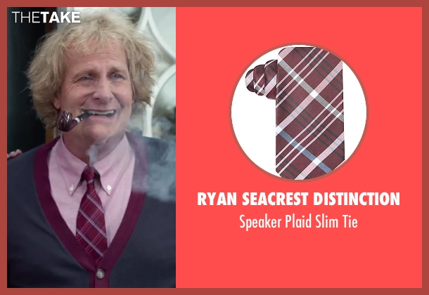 Ryan Seacrest Distinction red tie from Dumb and Dumber To seen with Jeff Daniels (Harry Dunne)