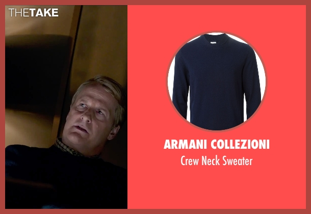 Armani Collezioni blue sweater from Steve Jobs seen with Jeff Daniels (John Sculley)