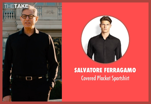 Salvatore Ferragamo black sportshirt from Mortdecai seen with Jeff Goldblum (Unknown Character)