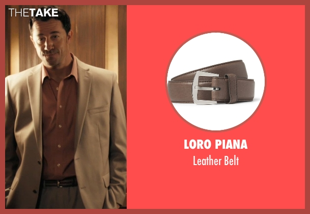 Loro Piana brown belt from Drive seen with Jeff Wolfe (Tan Suit)