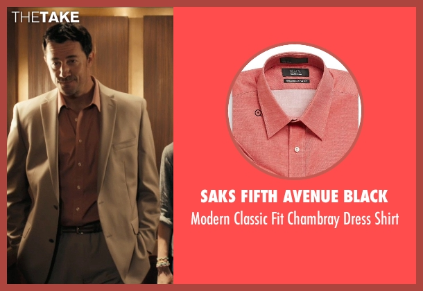 Saks Fifth Avenue Black red shirt from Drive seen with Jeff Wolfe (Tan Suit)