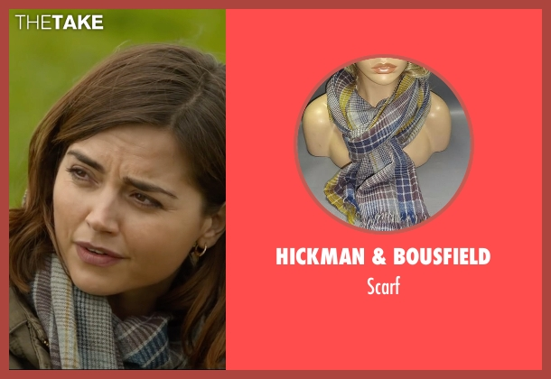 Hickman & Bousfield blue scarf from Me Before You seen with Jenna Coleman (Katrina Clark)