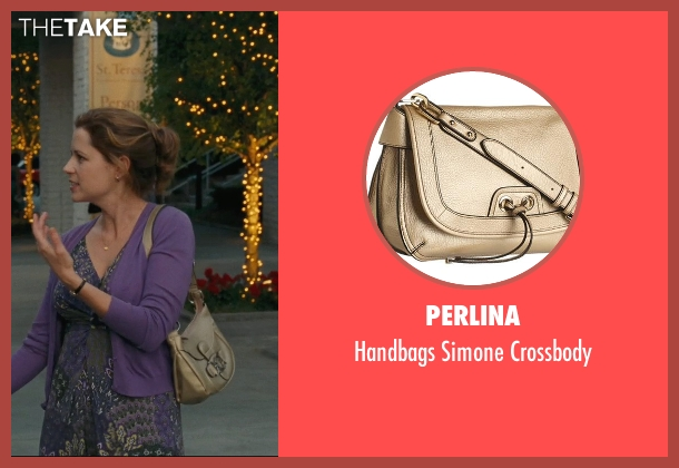 Perlina gold crossbody from Hall Pass seen with Jenna Fischer (Maggie)
