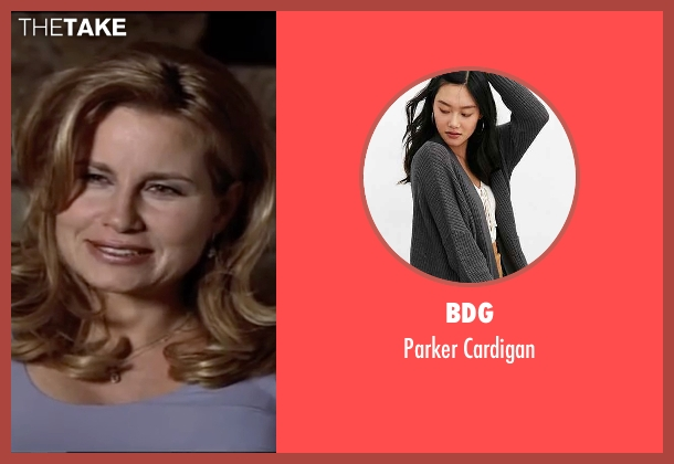 BDG gray cardigan from American Pie seen with Jennifer Coolidge (Stifler's Mom)