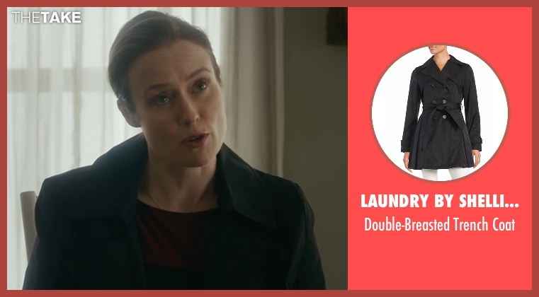 Laundry by Shelli Segal black coat from The Fundamentals of Caring seen with Jennifer Ehle (Elsa Hosk)
