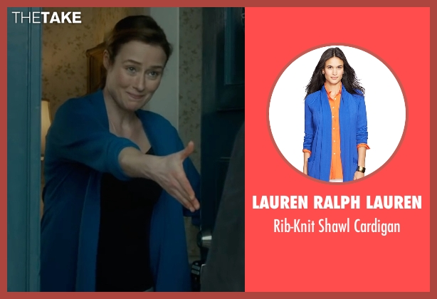 Lauren Ralph Lauren blue cardigan from The Fundamentals of Caring seen with Jennifer Ehle (Elsa Hosk)