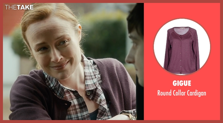 Gigue purple cardigan from The Fundamentals of Caring seen with Jennifer Ehle (Elsa Hosk)