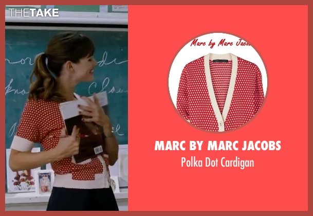 Marc By Marc Jacobs red cardigan from Valentine's Day seen with Jennifer Garner (Julia Fitzpatrick)