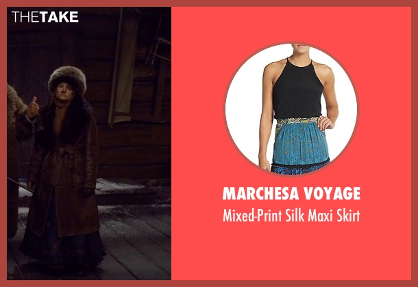 Marchesa Voyage blue skirt from The Hateful Eight seen with Jennifer Jason Leigh (Daisy Domergue)