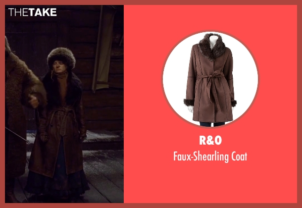 R&O brown coat from The Hateful Eight seen with Jennifer Jason Leigh (Daisy Domergue)
