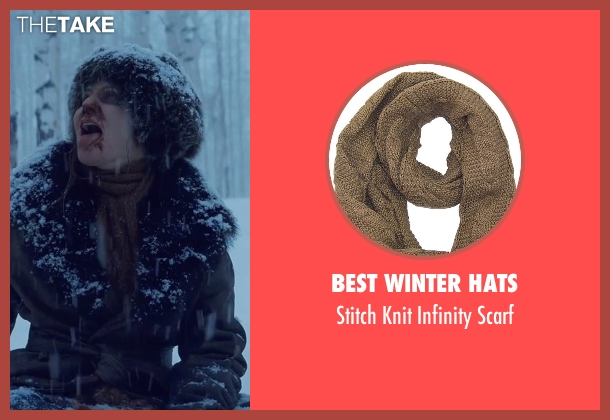 Best Winter Hats brown scarf from The Hateful Eight seen with Jennifer Jason Leigh (Daisy Domergue)