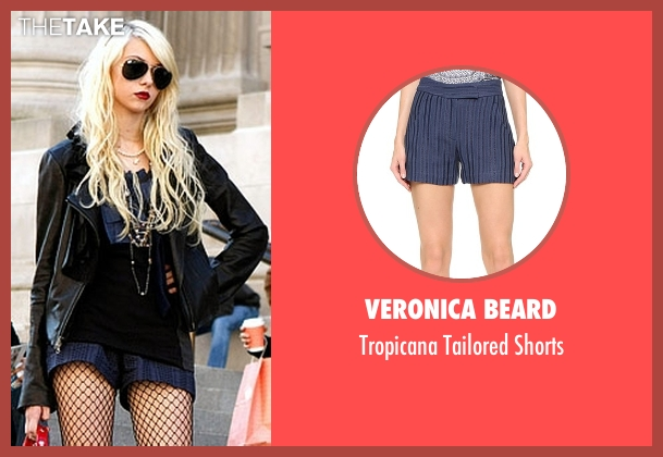 Veronica Beard blue shorts from Gossip Girl seen with Jenny Humphrey (Taylor Momsen)