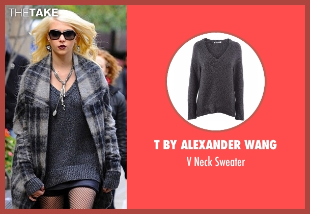 T by Alexander Wang gray sweater from Gossip Girl seen with Jenny Humphrey (Taylor Momsen)