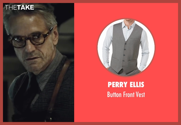 Perry Ellis gray vest from Batman v Superman: Dawn of Justice seen with Jeremy Irons (Alfred)
