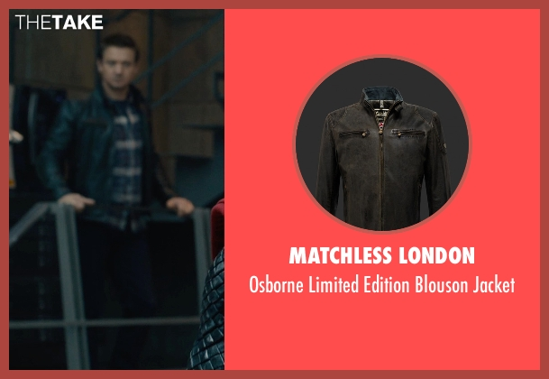 Matchless London black jacket from Avengers: Age of Ultron seen with Jeremy Renner (Clint Barton / Hawkeye)