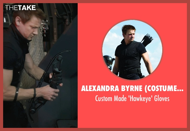 Alexandra Byrne (Costume Designer) black gloves from Marvel's The Avengers seen with Jeremy Renner (Clint Barton / Hawkeye)