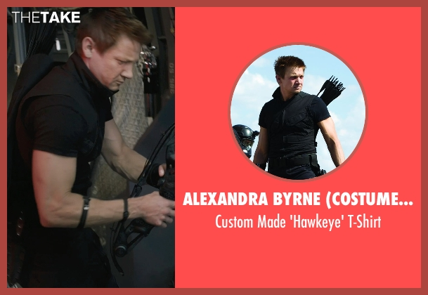 Alexandra Byrne (Costume Designer) black t-shirt from Marvel's The Avengers seen with Jeremy Renner (Clint Barton / Hawkeye)
