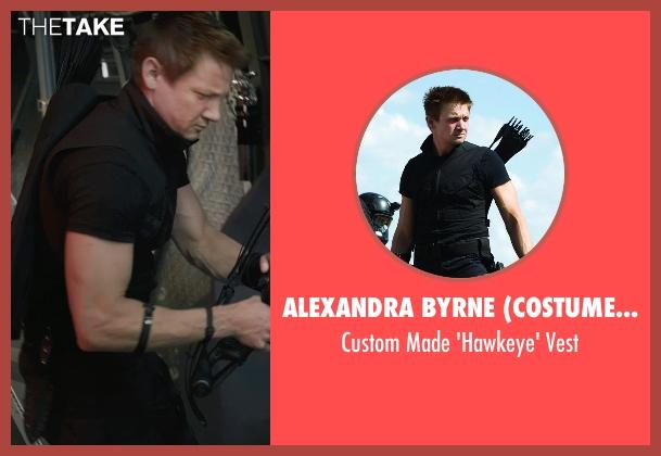 Alexandra Byrne (Costume Designer) black vest from Marvel's The Avengers seen with Jeremy Renner (Clint Barton / Hawkeye)