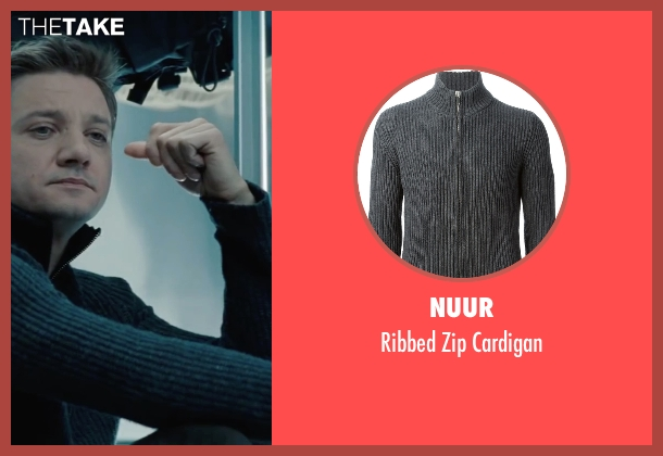 Nuur gray cardigan from Mission: Impossible - Ghost Protocol seen with Jeremy Renner (William Brandt)