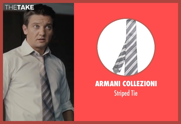 Armani Collezioni gray tie from Mission: Impossible - Ghost Protocol seen with Jeremy Renner (William Brandt)
