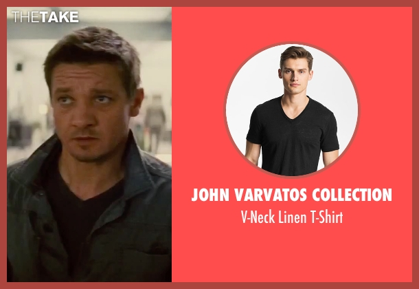 John Varvatos Collection black t-shirt from Mission: Impossible - Rogue Nation seen with Jeremy Renner (William Brandt)