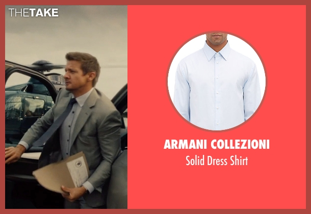Armani Collezioni blue shirt from Mission: Impossible - Rogue Nation seen with Jeremy Renner (William Brandt)