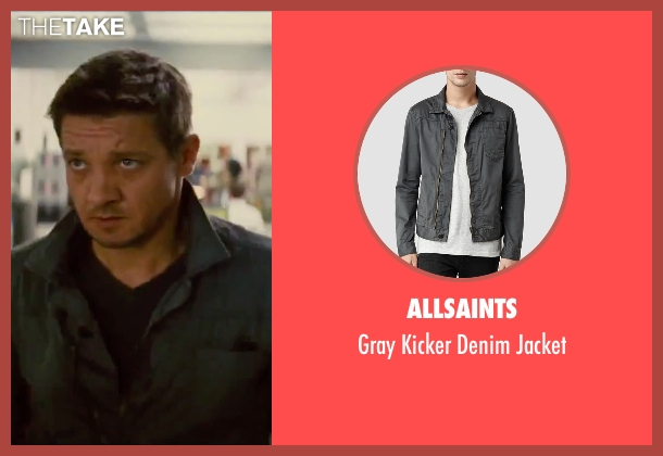 AllSaints gray jacket from Mission: Impossible - Rogue Nation seen with Jeremy Renner (William Brandt)