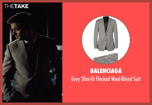 Balenciaga gray suit from Mission: Impossible - Rogue Nation seen with Jeremy Renner (William Brandt)