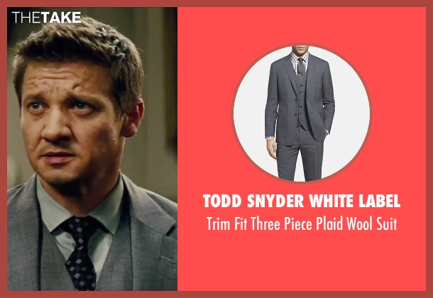Todd Snyder White Label gray suit from Mission: Impossible - Rogue Nation seen with Jeremy Renner (William Brandt)
