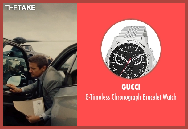 Gucci gray watch from Mission: Impossible - Rogue Nation seen with Jeremy Renner (William Brandt)