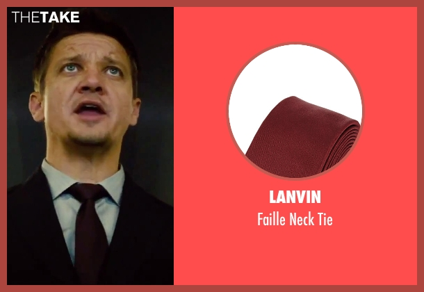 Lanvin red tie from Mission: Impossible - Rogue Nation seen with Jeremy Renner (William Brandt)