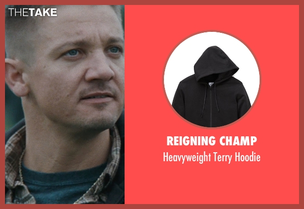 Reigning Champ black hoodie from The Town seen with Jeremy Renner (James Coughlin)