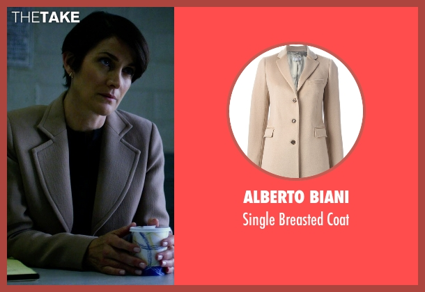 Alberto Biani beige coat from Jessica Jones seen with Jeri Hogarth (Carrie-Anne Moss)