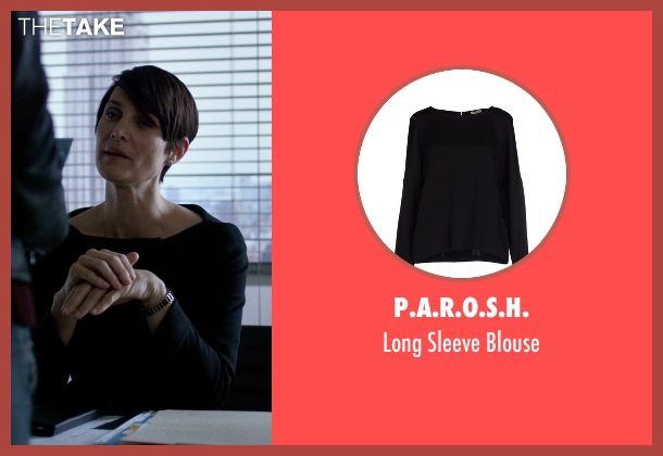 P.A.R.O.S.H. black blouse from Jessica Jones seen with Jeri Hogarth (Carrie-Anne Moss)