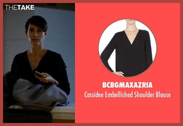 BCBGMAXAZRIA black blouse from Jessica Jones seen with Jeri Hogarth (Carrie-Anne Moss)