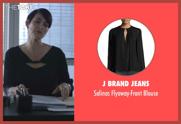 J Brand Jeans black blouse from Jessica Jones seen with Jeri Hogarth (Carrie-Anne Moss)